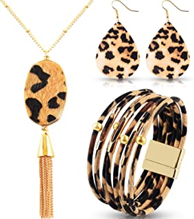 Sunshane 3 Pack Leopard Bracelets Multi-Layer Leather Bangles with Boho Leopard Pendant Necklace and Earrings for Women Girls