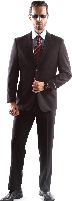 Men's Superior 150s Single Breasted Two Button Black Tonal Stripe Dress Suit Size Long 38