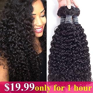 Amella Hair BrazilianCurlyHairWeave3Bundles (14 16 18,300g) Brazilian VirginKinky CurlyHuman Hair Weave 8A 100% Unprocessed HairWeft Extensions Natural Black Color