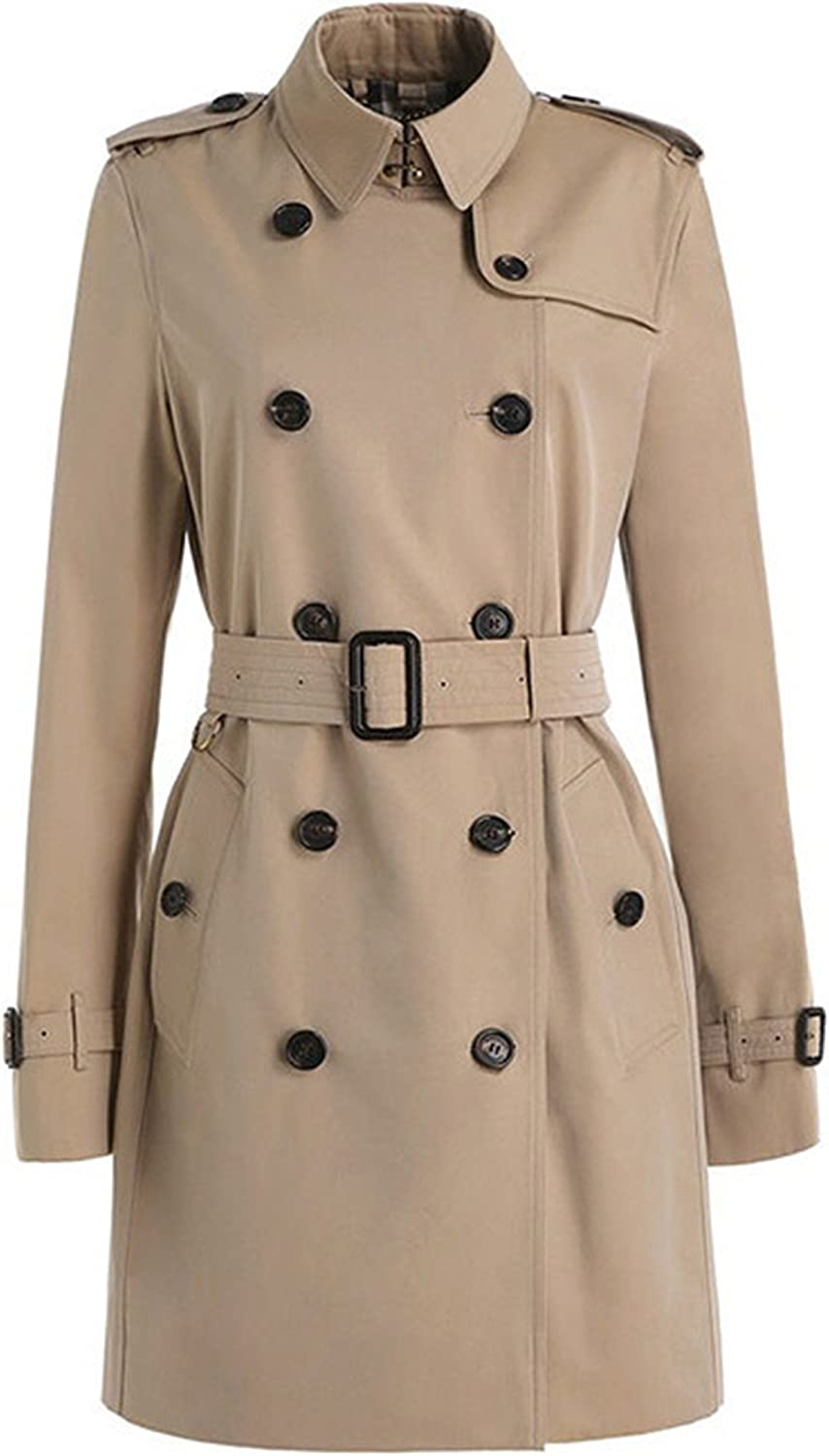 Allonly Women's Slim Fit shop SALENEW very popular! Double Coat Trench Sleeve Long Breasted