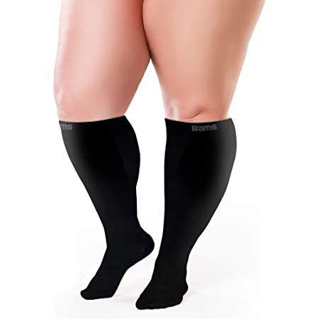 For Thick Calves with Ankle and Arch Support Firm Gradient Pressure Women Compression Socks XXWide Calf XX-Wide Knee High Plus Size Premium Cotton Stocking with padded soles