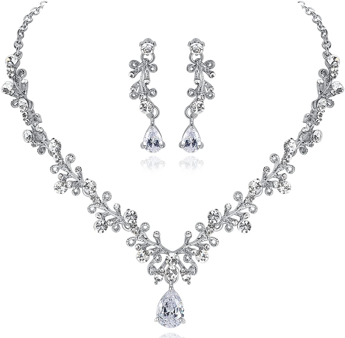 mecresh Wedding Leaf Cubic Zirconia Necklace Earring and Tiara Jewelry Set for Women Valentine's Day Gifts