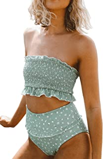 Women's Summer Floral Printed High Waist Ruched Smocked Beach Bikini Sets Swimsuit Bathing Suit