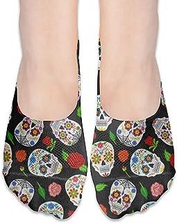 ALPHNJ, Calcetines Dibujo Notas musicales Cartas Calcetines de corte bajo para mujer Calcetines invisibles atléticos para niña