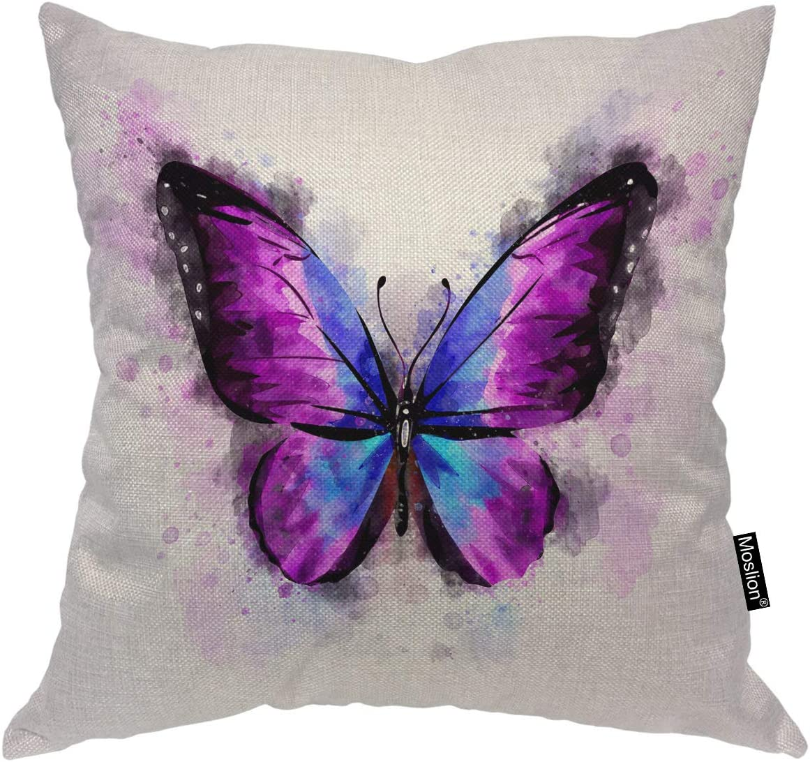 Moslion Butterfly Decorative Pillow Inch 16x16 Direct stock Sales for sale discount Watercolor Covers