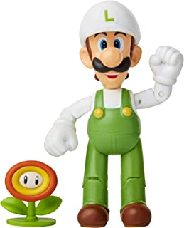 Super Mario Action Figure 4 Inch Fire Luigi Collectible Toy with Fire Flower Accessory