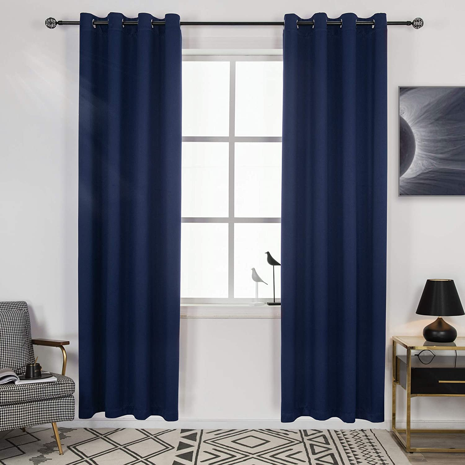 DECOVSUN Popular shop is the lowest price challenge Max 74% OFF 99% Blackout Navy Blue Room Curtains Bedroom for Living