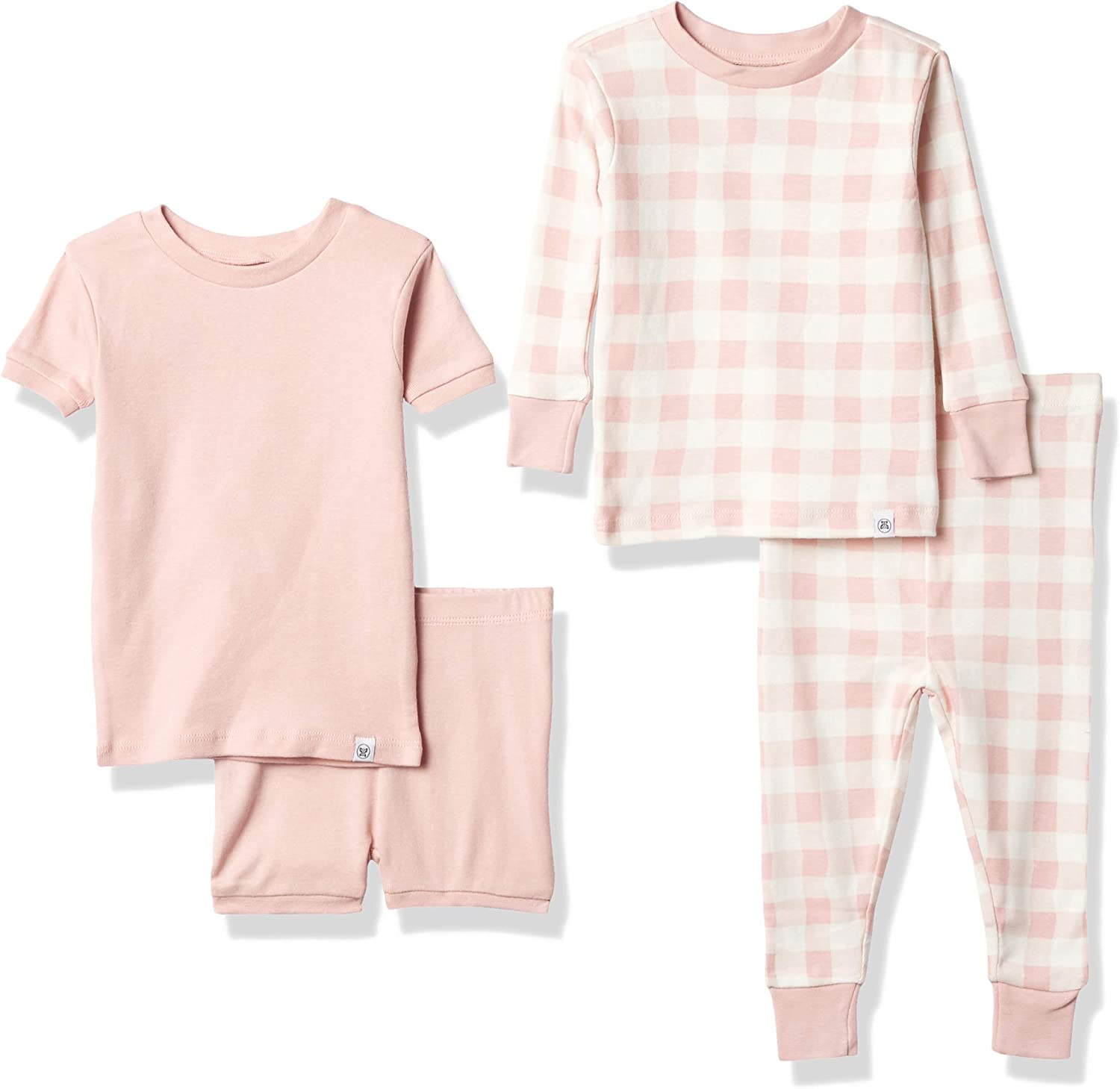 HonestBaby 4-Piece Organic Cotton Short and Long PJ Set, Peach Skin Painted Buffalo Check, 18 Months
