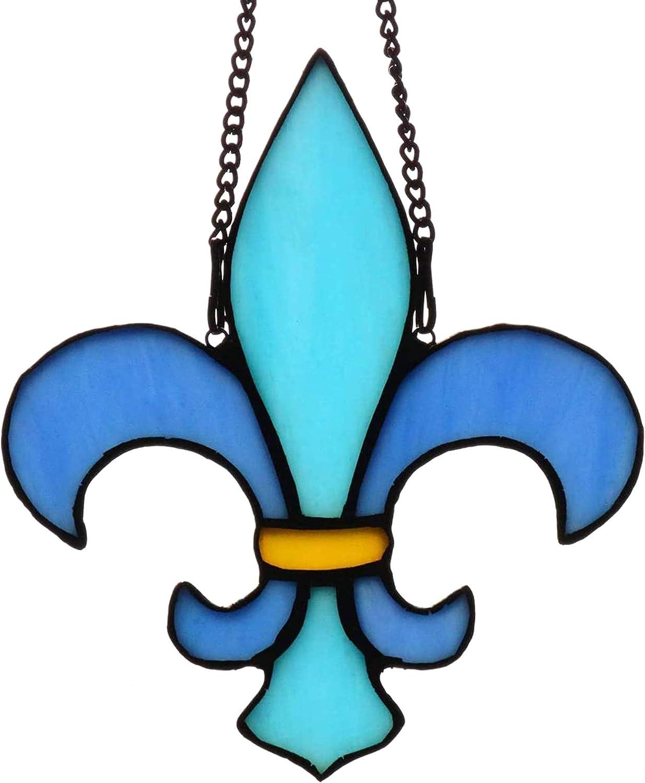 HAOSUM Christmas Decorations Blue Fleur De Lis Stained Glass Window Hangings,Fleur-De-Lis Design Suncatcher 5.7