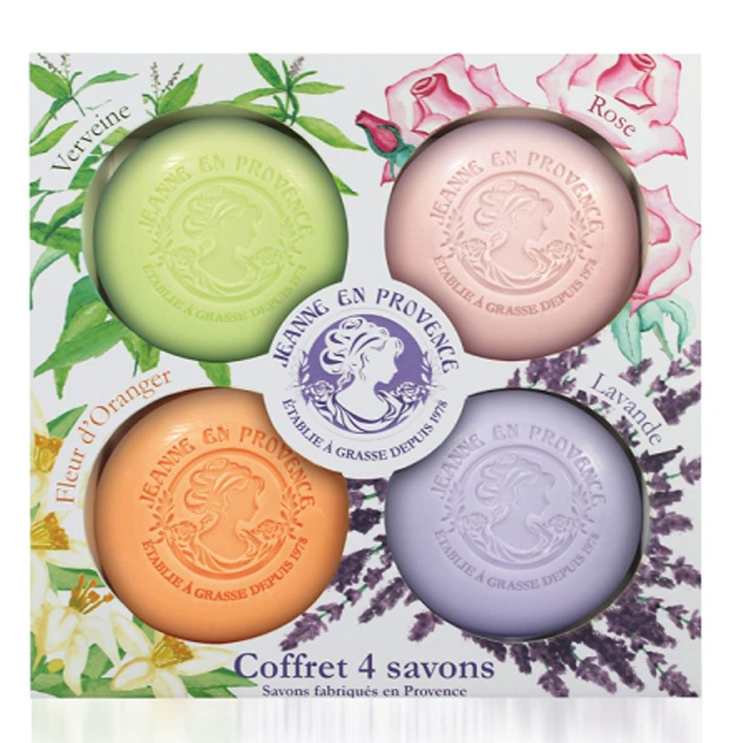 悪因子滞在法医学JEANNE EN PROVENCE solid soap, 4 in 1 set (verveine, rose, orange, lavender) make in france 1978, WHITENING & SMOOTH SOAP