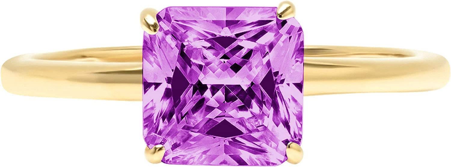 1.95 ct Brilliant Asscher Cut Solitaire Flawless Simulated CZ Purple Alexandrite Ideal VVS1 4-Prong Engagement Wedding Bridal Promise Anniversary Designer Ring Solid 14k Yellow Gold for Women