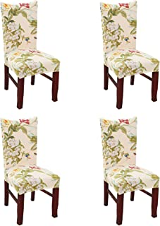 Argstar 4 Pack Chair Slipcovers for Dining Room Spandex Protector Covers for Kitchen Flower X_07