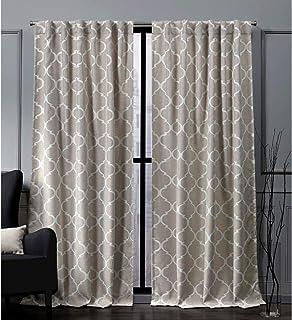 Nicole Miller Treillage Woven Blackout Hidden Tab Top Curtain Panel, Linen, 52x96, 2 Piece