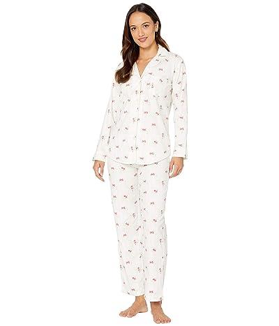LAUREN Ralph Lauren Petite Brushed Twill Long Sleeve Notch Collar Long Pants Pajama Set (Ivory Floral) Women