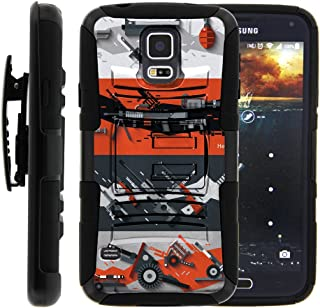 TurtleArmor | Compatible with Samsung Galaxy S5 Case | G900 | I9600 [Hyper Shock] Rugged Hybrid Hard Shell Kickstand Fitted Silicone Holster Belt Clip War and Military - Heavy Artillery