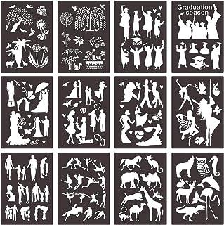 مجموعة استنسلات بلاستيكية مكونة من 12 قطعة من سيوفو، ألعاب تعليمية يدوية لكمبيوتر دفتر اليوميات والرسومات دفتر الملاحظات و...