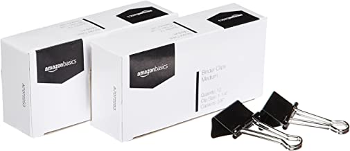 AmazonBasics A7072253 Binder Clips, Medium, 12 per Box, 2-Pack