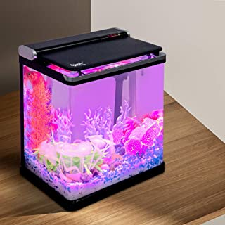 hygger Smart 4 Gallon Fish Tank Small Desk Aquarium Starter Kit with Lid, Filter Pump Filter Cartridges for Snail Tropical Gold Fish
