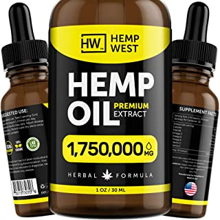 Hemp Oil 1,750,000 MG for Pain, Anxiety Relief - Sleep Support - Organic Extra Strong Formula - Vegan-Friendly - Helps for...