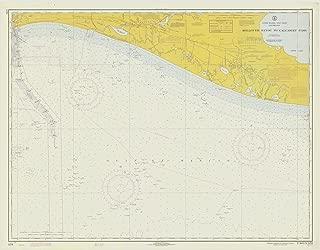 Map - Rollover Bayou To Calcasieu Pass, 1970 Nautical NOAA Chart - Louisiana (LA) - Vintage Wall Art - 55in x 44in