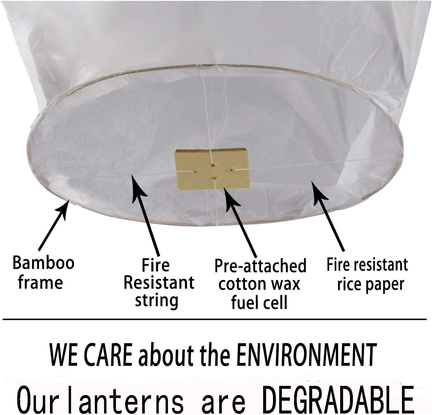 Flying Lantern for Birthdays Paper Lanterns 100/% Biodegradable Eco Friendly Weddings Sky Lanterns Fully Assembled Chinese Lanterns 6 Pack White Funerals and More. Anniversaries
