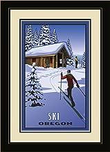 لوحة فنية جدارية بإطار Northwest Art Mall PB-4779 MFGDM CCC للتزلج أوريغون عبر البلاد المتزلجين والمقصورة من الفنان بول لي...