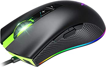 PICTEK Wired Gaming Mouse - 6 Adjustable DPI Levels up to 10,000 - 8 Programmable Buttons - Wired-Chroma RGB Lighting - Rubber Side Grips - Long Braided Corde & Average Size Hand - Matter Black