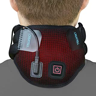 Creatrill Heated Neck Brace with 3 Level Controller for Neck Pain or Stiffness Relief, Pad Gift for Moist Heat Therapy, Foam Cervical Collar - Soft Neck Support Relieves Pain & Pressure in Spine