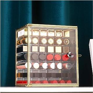 Organisateur de bijoux avec support pour rouges à lèvres – Boîte de rangement transparente avec couvercle, 42 compartiment...
