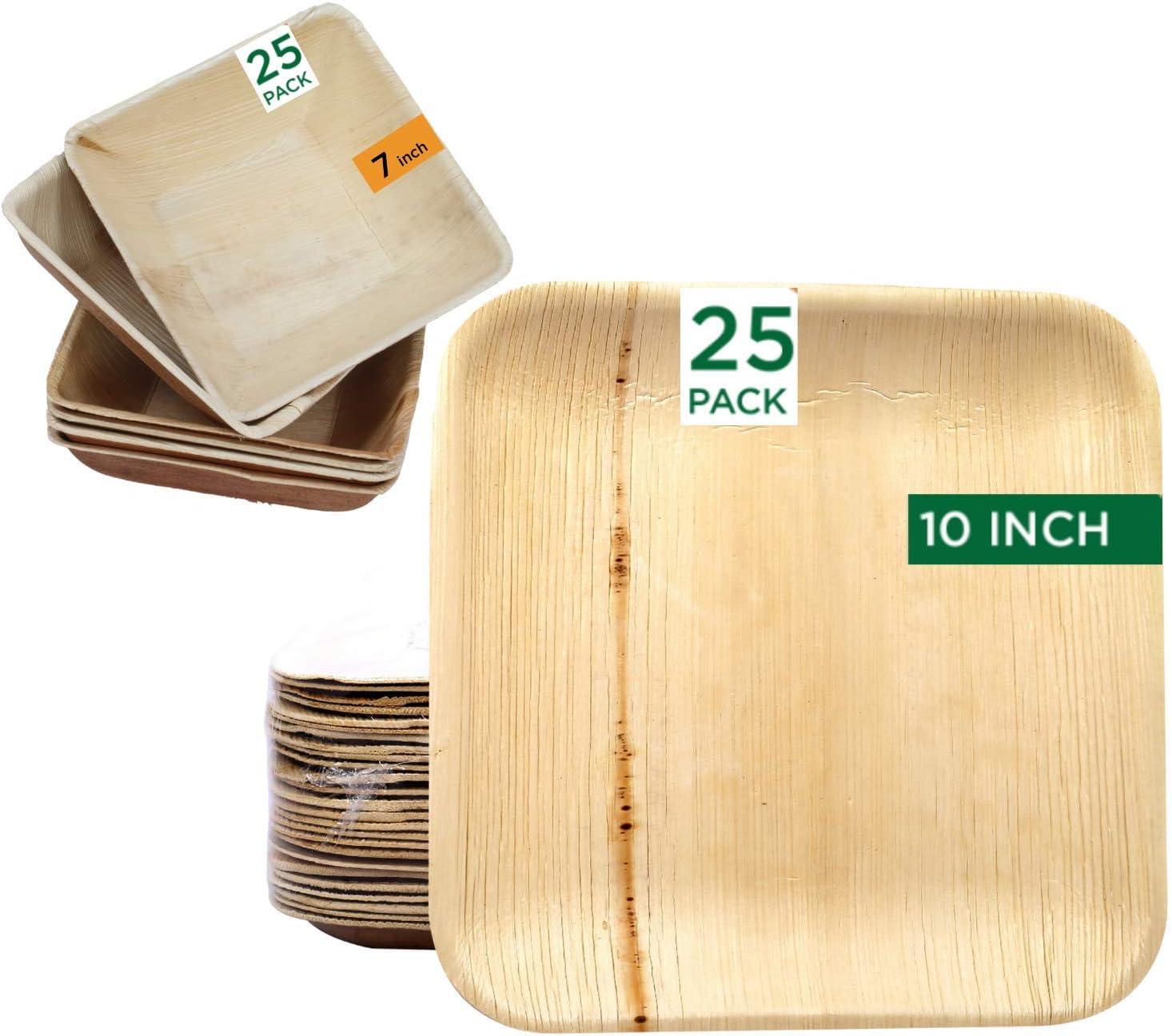 Raj Palm Leaf Plates 50-Pack 25 信託 x l Bowls 10