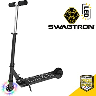 Swagtron Glide SK3 Foldable Electric Scooter w/LED Wheels & Kick-Start Boost & Cruise Motor, Black, One Size (SK3 Glide)