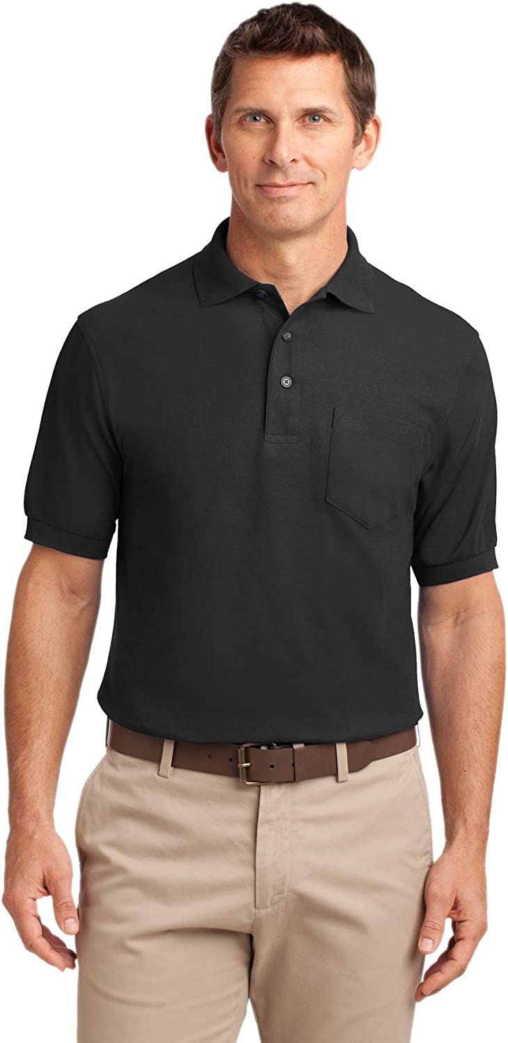 Port Authority Tall Silk Touch Polo with Pocket 3XLT Black