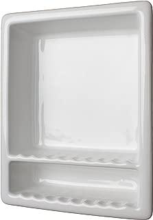 Super 2 Compartment Tile Recessed Shampoo Shower Niche White Shelf