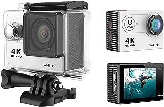 كاميرا فيديو اكشن دي في رياضية H9 4K الترا اتش دي 1080P مضادة للماء حتى عمق 30 متر - لون فضي