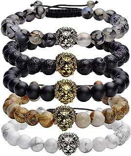 8mm Handmade Lion Head Macrame Adjustable Lava/Matte Agate/Picture/Dragon Stone Gemstone Beaded Bracelet,Unisex