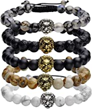 Jovivi 8mm Handmade Lion Head Macrame Adjustable Lava/Matte Agate/Picture/Dragon Stone Gemstone Beaded Bracelet,Unisex