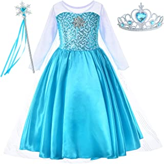Princess Costume for Girls Dress Up with Accessories Toddler Little Girls 2-10 Years