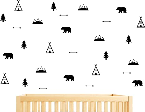 Woodland decal Nursery decal Wall decal mountain Nursery wall decal wall stickers Mountain Camping Mountain decal Wall decal