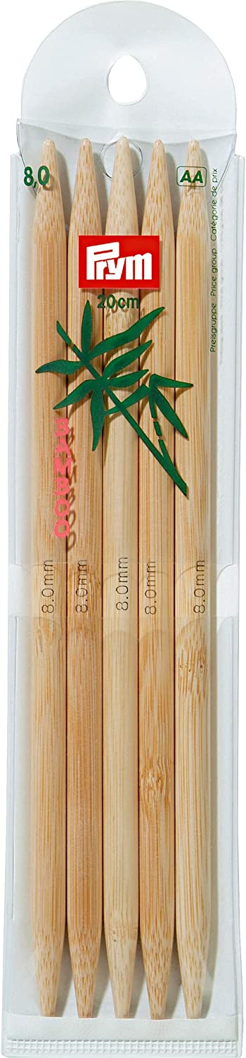 Prym 20 Luxury cm 8.00 mm Double Pointed Glove Pins and Year-end annual account Knitting Bamboo