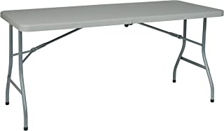 Office Star Resin Multipurpose Rectangle Table, 5-Feet Long, Center Folding with Wheels