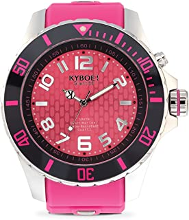 KYBOE! Power Stainless Steel Quartz Watch with Silicone Strap, Purple, 26 (Model: KY.55-019.15)