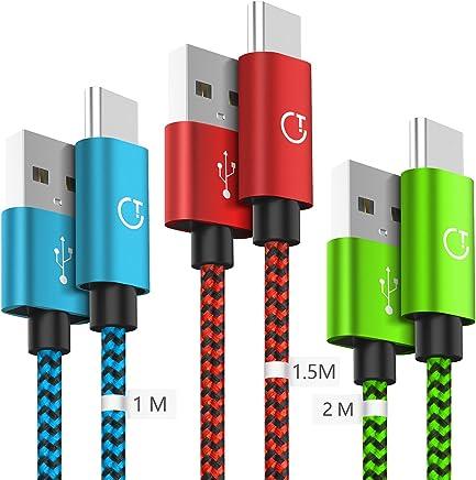 Gritin USB C Kabel, Typ C Kabel, 3 Pack [1m+1.5m+2m] Datenkabel Nylon Geflochtene Robust stabil Datenübertragung für Typ C Geräte - Farbe