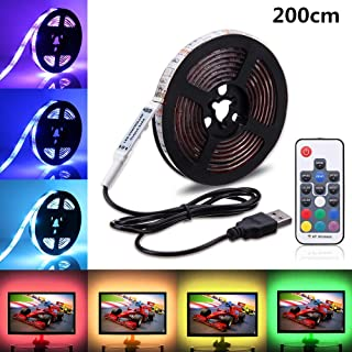 USB LED Light Strip,SOLMORE RGB LED Strip Lights TV Backlight Strip 2m/6.6ft 5050 Flexible LED Strip with IR Remote,Waterproof LED Light Strip for TV LCD,Desktop PC/Laptop Background Lighting Decor