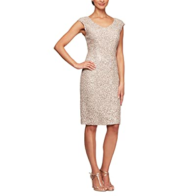 Alex Evenings Short Corded Lace Sheath V-Neck Dress (Champagne/Ivory) Women