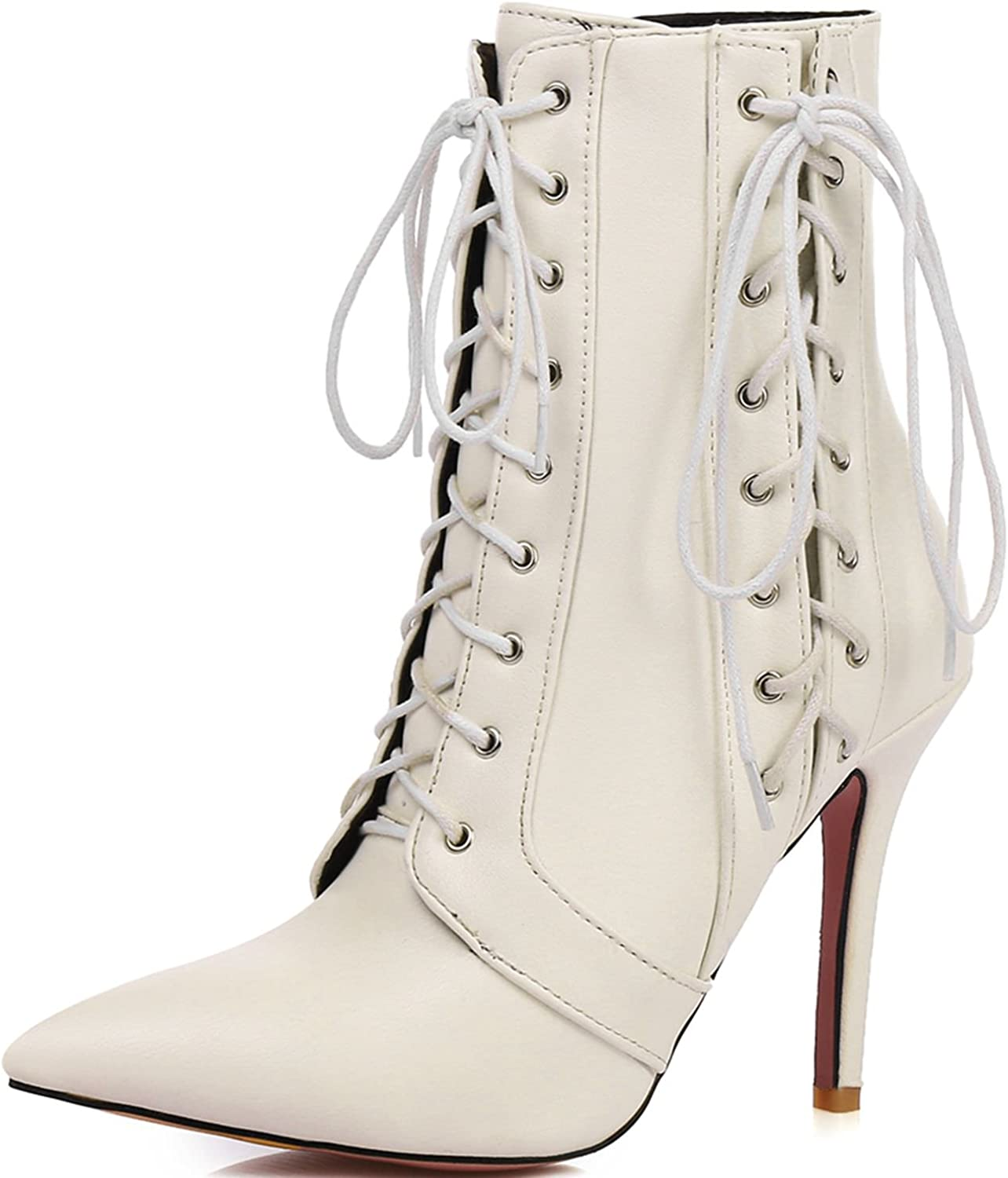 KingRover Women's High Heel Combat Pointed Toe Corset Lace Up Zipper Dressy, Formal, Party Ankle Bootie