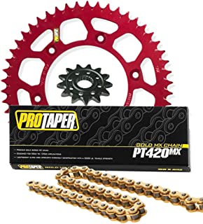 red motorcycle chain and sprocket
