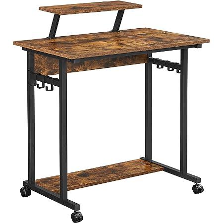 VASAGLE Bureau Informatique, Table d'études à roulettes, avec Support écran, 6 Crochets, 80 x 50 x 90 cm, Style Industriel, Marron Rustique et Noir LWD085B01