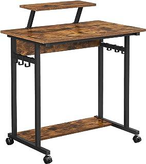 VASAGLE Bureau Informatique, Table d'études à roulettes, avec Support écran, 6 Crochets, 80 x 50 x 90 cm, Style Industrie...