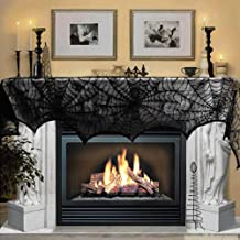 Halloween Decoration Black Lace Spiderweb Fireplace Mantle Scarf Cover Festive Party Supplies Set for Fireplace Window Door Frame Decoration 18 x 96 inch