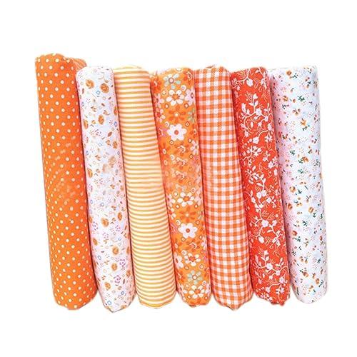 Topker 7pcs Coton Tissu Textile Artisanat Tissu Bundle Patchwork Tissu Bricolage Couture Courtepointe Motif Floral